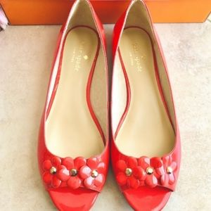 Kate Spade Peep-Toe Patent Leather Poppies Flats